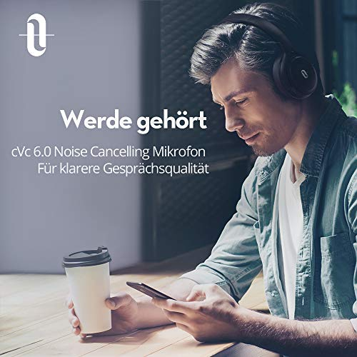 TaoTronics Noise Cancelling Kopfhörer Bluetooth Kopfhörer Over Ear mit aktiver Rauschunterdrückung 25 Std. Laufzeit, TT-BH22 mit eingebauten Mikro CVC 6.0, duale 40 mm Tieftontöner, Faltbare Ohrhörer - 6