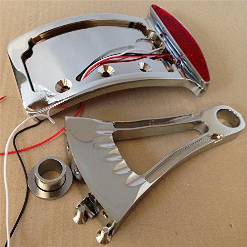 HTT Motorrad Chrom Gebogene Seite montiert Nummernschild Halterung w/LED Rücklicht Bremslicht 7/20,3cm oder 2,5cm Achsen für Suzuki/Yamaha/Honda/Kawasaki Vulcan Classic Custom 900