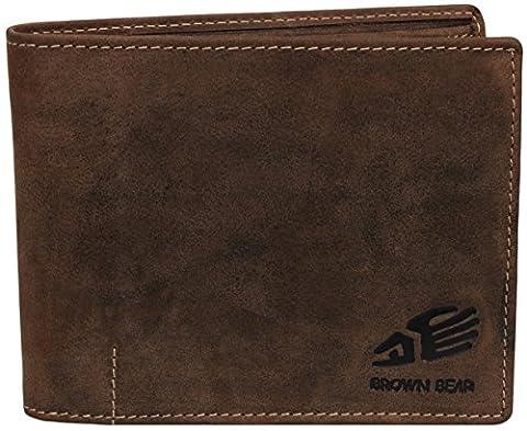 Brown Bear 1051BR Portefeuille en cuir pour homme Marron