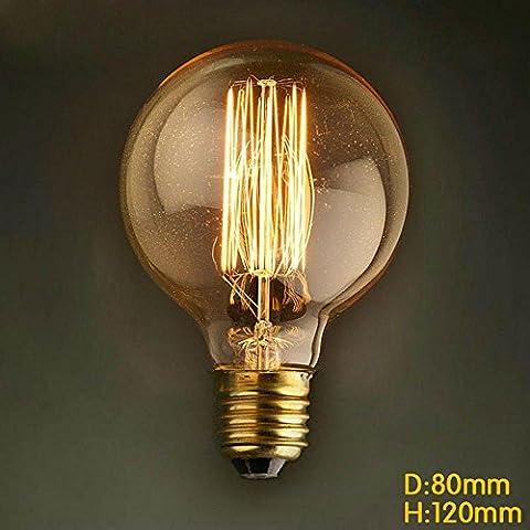 Vintage Edison Glühbirne Glühlampe E27 60W 350lm 2700k G80 Globe Lampe Für Retro-Nostalgie-Industrie Stil Leuchtmittel [Energieklasse A++]