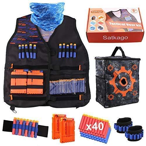 Satkago Gilet Tattico per Nerf N-Strike Serie Elite, Tactical Vest Kit Includere Borsa Portaoggetti, 40Pcs Schiuma Dardi, 2Pcs Caricatore a Ricarica Rapida, 1Pcs Mascherina, 2Pcs Cinturino da Polso