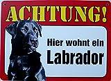 Schild 14x19cm - Hier wohnt ein Labrador schwarz Hund Haus Alu Coupon dipond