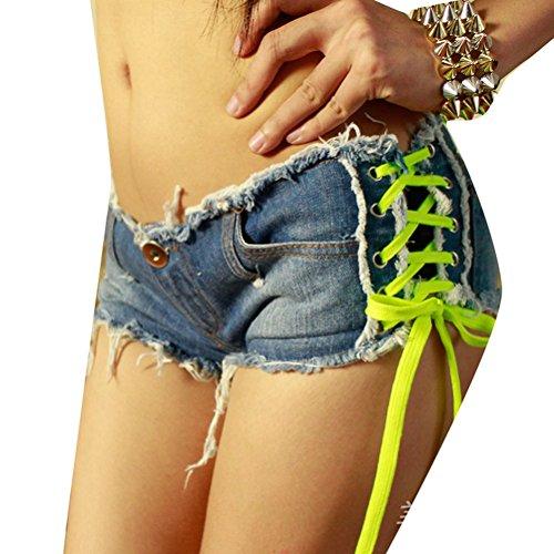 Femmes Sexy Distressed Shorts Bouton Side laçage Mini Jean Denim Shorts Clubwear Noir