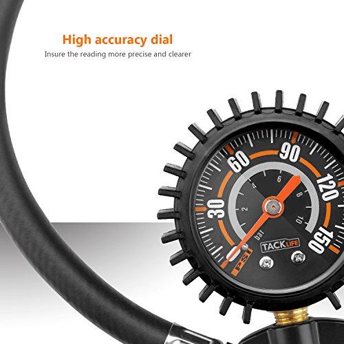 Tackilfe-Sistema-di-gonfiaggio-digitale-per-pneumatici-preciso-con-manometro-da-150-psi-e-valvola-Presta-e-Schrader-a-90-gradi-e-tubo-flessibile-di-prolunga-in-gomma-per-auto-moto-bicicletta