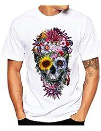 Camiseta Hombre,Longra ★ Camiseta de Cráneo Hombre Militares Camisetas Deporte Ropa Deportiva Camisa de Manga Corta de Camuflaje Slim Fit Casual Para Hombres Tops Blusa