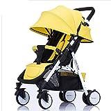 SHOWGG Kinderwagen, leichtes, kompaktes, neigbares Kinderwagen-System, hochklappbarer Vierraddämpfer für Neugeborene,Yellow
