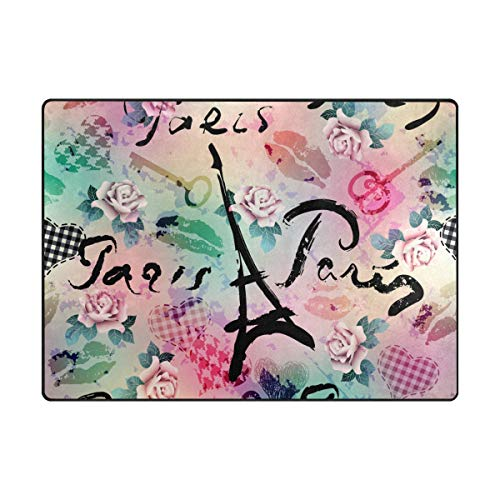 MALPLENA Tapis de Sol antidérapant avec Inscription I Love You Paris, Polyester, 1, 80 x 58 inch