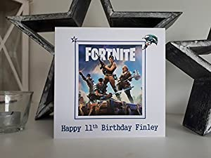 HANDMADE CARDS BY KD, FORTNITE PERSONALISED BIRTHDAY CARD - Handmade PS4, XBOX ONE, PC game fan milestone birthday card. Choose your own name and age to personalise to make a unique greeting card. Great personalised gift card to celebrate any Birthday. Id