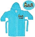Unbekannt Frottee Bademantel - Minions - Ich einfach unverbesserlich - incl. Name - 7 bis 11 Jahre / Gr. 134 - 146 - 100 % Baumwolle - mit Kapuze - für Kinder / Mäd..