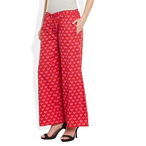 Baumwolle bedruckt Palazzo-Hose für Frauen Indian Rot Rosa