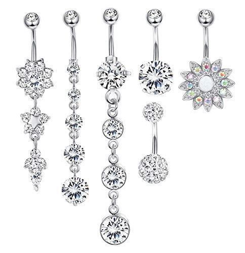 Milacolato 5-6 pezzi 14g anelli ombelico in acciaio inox barbell anelli ombelico bar per donna cz flower body piercing