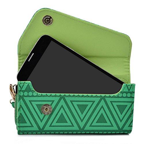 Kroo Pochette/étui style tribal urbain pour Alcatel POP D5 Noir/blanc vert