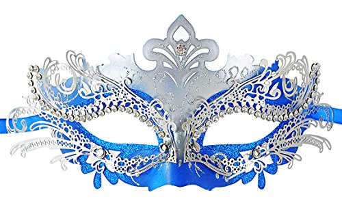 Coxeer Lusso Mascherata Halloween Metallo Tagliato al Laser Strass Sera Prom VenEziano Mardi Gras Maschera Partito