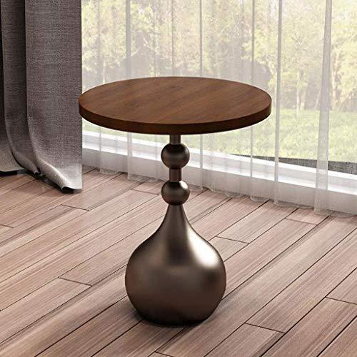 ACZZ Sofa Beistelltisch, Nordic Marmor Wohnzimmer Couchtisch, einfache kreative Massivholz kleine runde Couchtisch, Haushalt Lesetisch, 50 * 60cm,D -