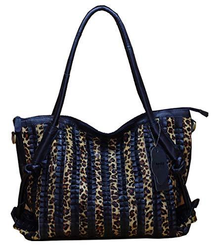 Eastery Handtaschen Damen Hohe Qualität Schwarz Schaffell Leder Frauen Handtasche Weiches Einfacher Stil Leder Italienisches Design Handtasche Umhängetasche Größe Einkaufstasche (Schwarz) -
