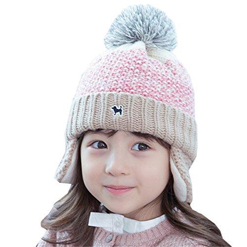Chilsuessy Baby Mädchen Jungen Mütze Strickmütze Winter Warm Hut Gestrickt Beanie Mütze Wollmütze Kappe Schnee Hüte Skimütze, Pink, 41-50cm