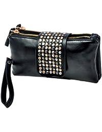 Vococal - Remache de bolsos de mujer cartera monedero mujer PU cuero cartera negra mujer noche bolsos (Negro)