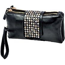 Remache de bolsos de embrague mujer cartera PU cuero noche bolsos negro