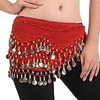 FLOFIA 1pc Cinturón Danza del Vientre Mujer Bufanda Pañuelo de cCintura Cadera Falda para Danza Baile Oriental con 128 Monedas Lentejuelas Belly Dance Scarf Belt - Rojo