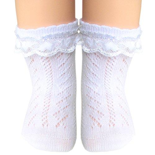 JHosiery Calcetines pointelle bebés niñas con costura plana (15-16/0-6M, 2 pares blanco...