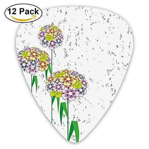 Bunte Blumen-Gänseblümchen mit Grün-Blatt-Natur-Garten-botanischen Plektren 12 Pack Für E-Gitarre, Akustikgitarre, Mandoline und Bass -