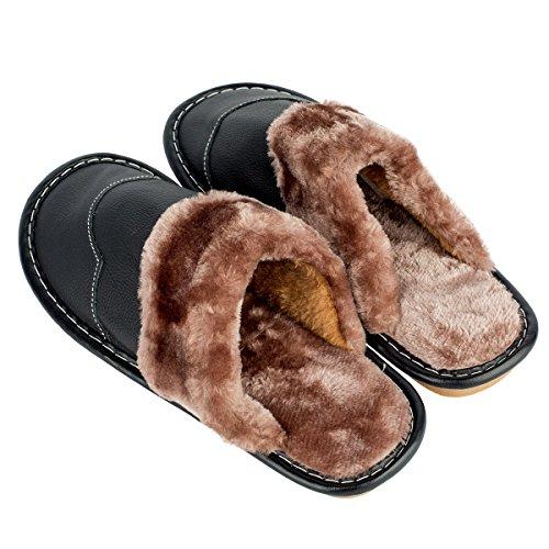 In Caldo Fodera Vera Haisum Inverno Uomo Pantofola Pelle 67wdnq