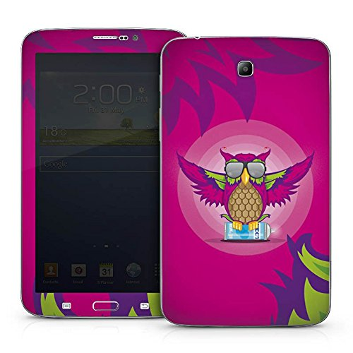 DeinDesign Samsung Galaxy Tab 3 7.0 7.0 Case Skin Sticker aus Vinyl-Folie Aufkleber Eule Pink Sonnenbrille