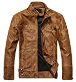 #7: Romano 100% Genuine Real Leather Solid Biker Racer Party Jacket for Men