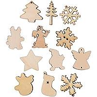 DEOMOR Lot de 100 Noël Embellissements en Bois avec Trou Formes Mixtes Ornement Decoration Noel Arbre