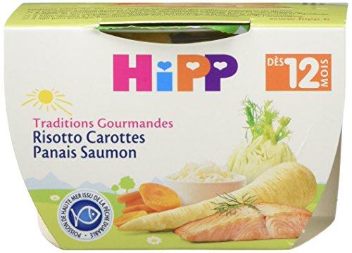 Hipp Biologique Traditions Gourmandes Risotto Carottes Panais Saumon dès 12 mois - 8 bols de 220 g