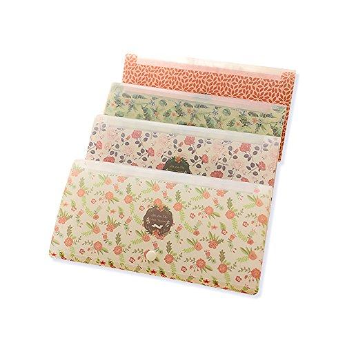 Zhi Jin 12Taschen Floral Fächermappe Ordner Tab Tasche Rechnungen Dokument Veranstalter Geldbörse mit Snap Button Büro beige (Designs-snap Floral)