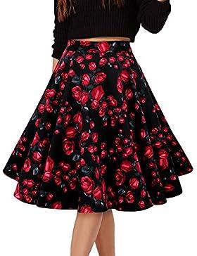 Mujer Vintage Floral Swing Full Circle Casual Falda Corto Retro Vestidos