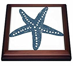 3dRose trv_213846_1 Blue & White star Fish Illustration Trivet with Ceramic Tile, 8 x 8, Natural