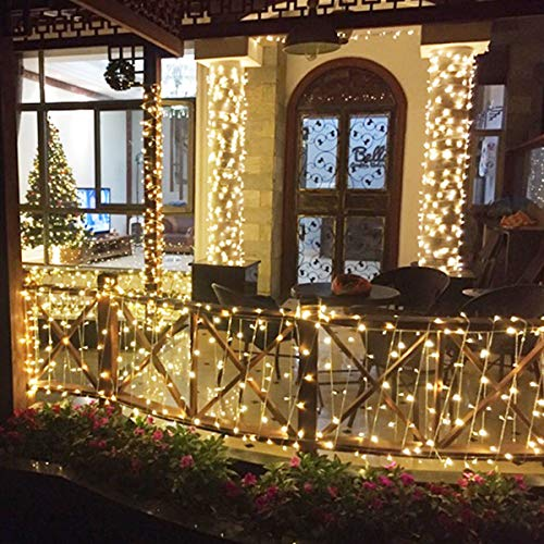 FROADP Wasserdichte Weihnachtsdekoration String Lichte 8 Modi Vorhang Lichter Beleuchtung Deko Weihnachten Halloween Hochzeit Party oder Stimmung Lichter (Warmweiß, 100m) (Von Erklärung 3 Halloween)