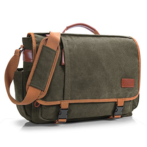 CoolBell 17 Zoll Aktentasche Messenger Bag Umhängetasche Laptop Tasche Handtasche Business Briefcase Multifunktions Reise Tasche Passend für 17-17,3 inch Laptop/Damen/Herren(Canvas Grün)