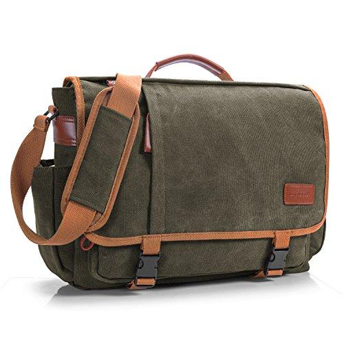 Messenger Kurze (CoolBell 17 Zoll Aktentasche Messenger Bag Umhängetasche Laptop Tasche Handtasche Business Briefcase Multifunktions Reise Tasche Passend für 17-17,3 Inch Laptop/Damen/Herren(Canvas Grün))