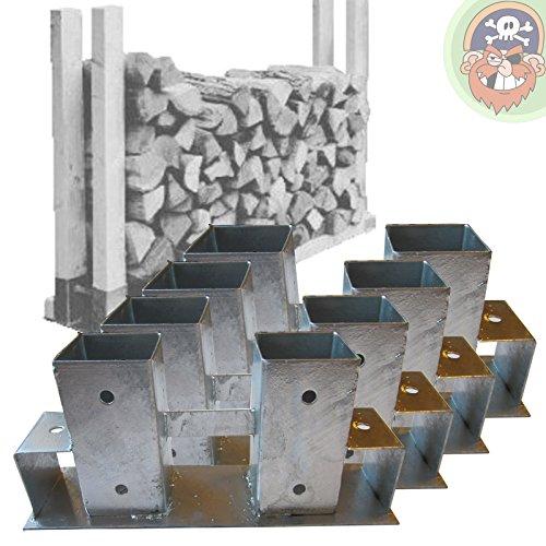 *4x Holzstapelhalter Metall für Brennholz-Regal Stapelhilfe Kaminholz von Gartenpirat®*