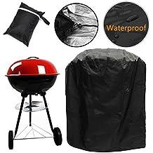 Redondo - Cubierta para barbacoa hervidor de agua al agua para barbacoa parrilla para exteriores jardín, negro (77 x 58 cm)