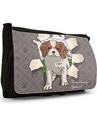 Preisvergleich für Durchbruch-Hunde Große Messenger- / Laptop- / Schultasche Schultertasche aus schwarzem Canvas