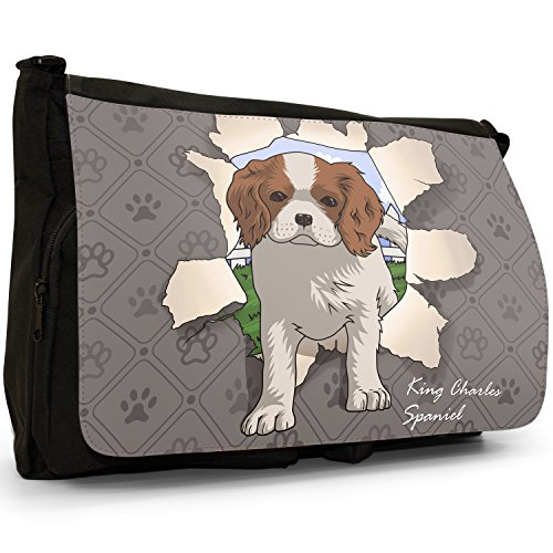 Spezzare cani grande borsa a tracolla Messenger Tela Nera, scuola/Borsa Per Laptop Spaniel Breaking Through