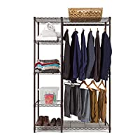 Bronze Heavy Duty Clothes Storage system - Maximise your storage space - 2 Garment rails and 5 shelves for storage, adjustable shelves for ultimate flexibility - FREE next day shipping *