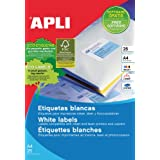 APLI - Etiquetas Apli blancas cantos rectos 210 x 297 mm 25 Hojas A4