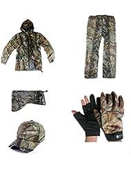 zcoins, interior de malla ligera chaqueta para hombre traje de camuflaje militar Juego Softshell Stealth Gear, hombre, color Jacket/Pant/Cap/Mask/Glove, tamaño XXL
