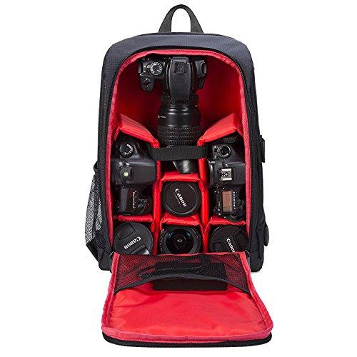 Selighting Sac à Dos Appareil Photo Réflex Sac Photo Imperméable pour Ordinateur Portable Trépied DSLR Canon Nikon Sony avec Housse de Pluie (Rouge)