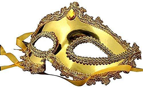 (Inception Pro Infinite Maske - Goldfarbe - Karneval - Halloween - Venezianer - Frau - Dekorationen - Stoff - Gelber Stein - Frau)