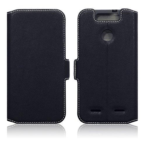 Terrapin, Kompatibel mit ZTE Blade V8 Lite Hülle, Leder Tasche Case Hülle im Bookstyle mit Standfunktion Kartenfächer - Schwarz EINWEG