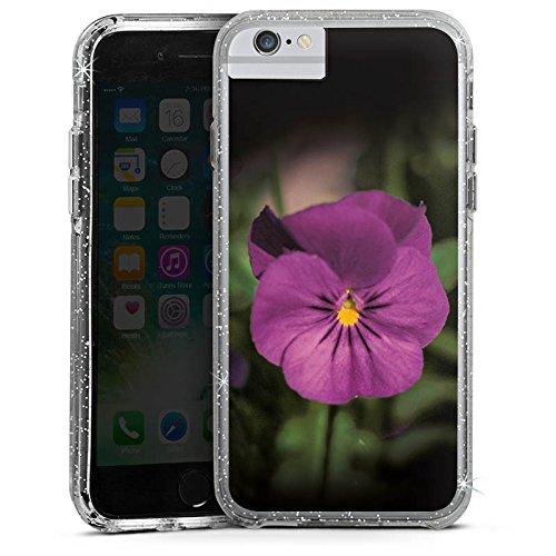 Apple iPhone 8 Bumper Hülle Bumper Case Glitzer Hülle Blume Flower Lila Bumper Case Glitzer silber