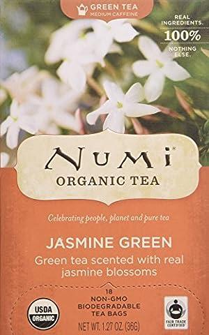Numi - Green Tea, Organic, 18 Bags/BX, Jasmine Green, Sold as 1 Box, NUM10108
