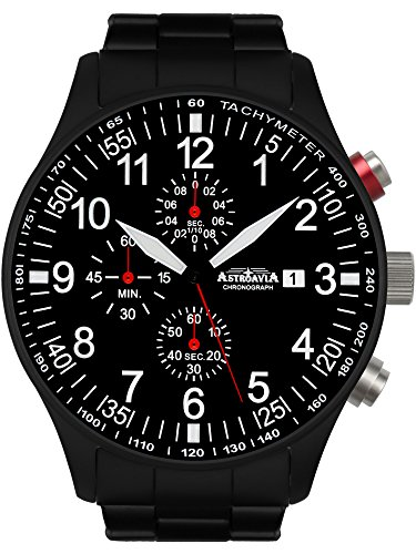Astroavia Herren-Armbanduhr Chronograph Quarz Edelstahl schwarz N57BS