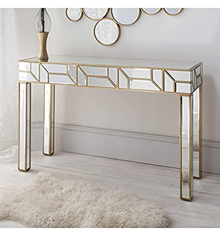Verbier Large Modern Bevelled Mirrored Console Table Painted Gold Finish 31